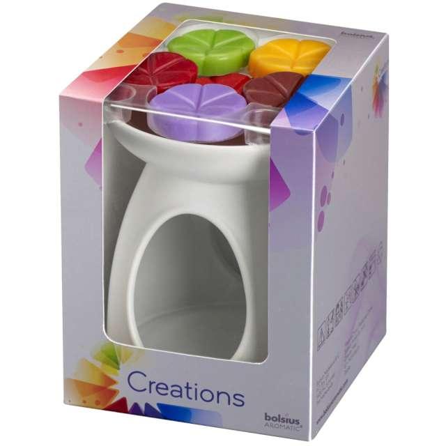 """Kominek ceramiczny """"Creations pakiet z woskiem"""", biały+mix, Bolsius"""