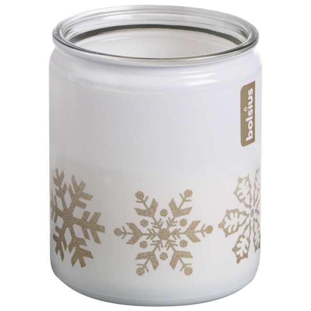 """Świeca w szkle """"Świąteczne Śnieżynki"""", biała, Bolsius, 82 mm"""