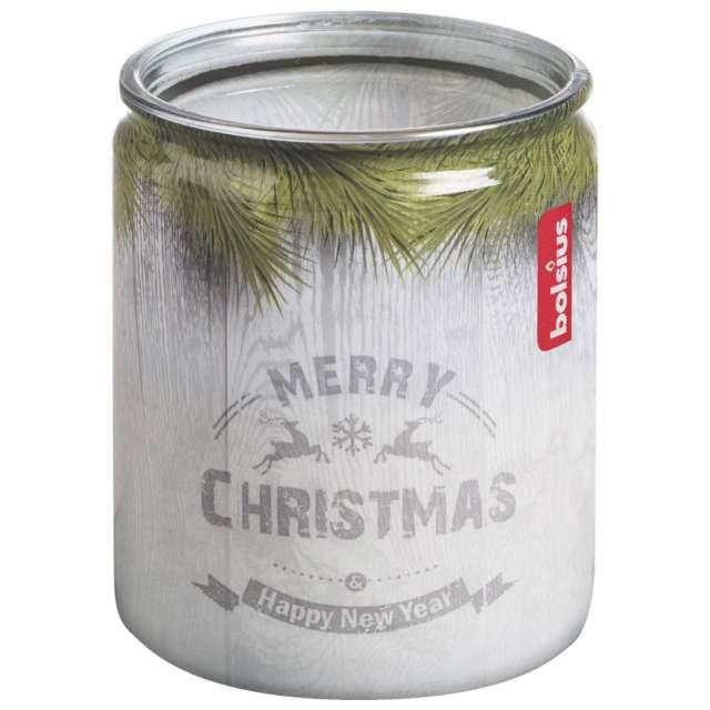 """Świeca w szkle """"Świąteczna sosna"""", biała, Bolsius, 82 mm"""