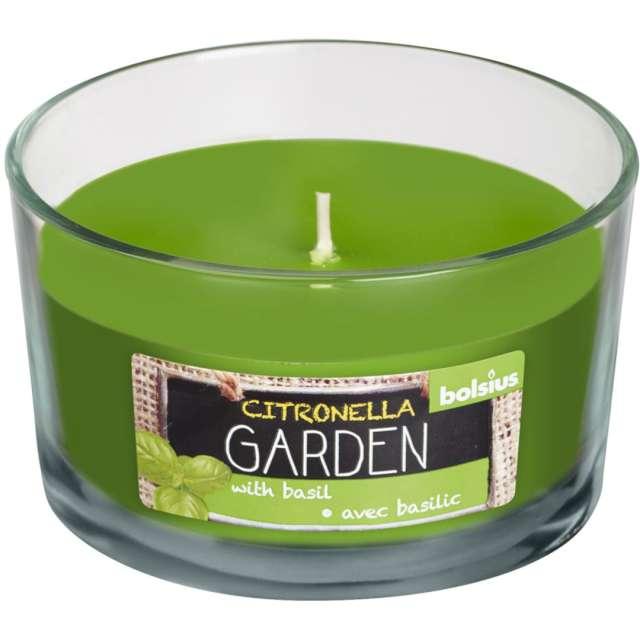 """Świeca w szkle """"Cytryna z bazylią"""", zielona, Bolsius, 62/106 mm"""