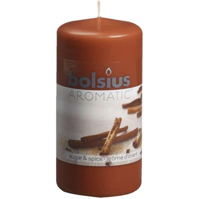 """Świeca pieńkowa zapachowa """"Świeży cynamon"""", brązowy, Bolsius, 120/60mm"""