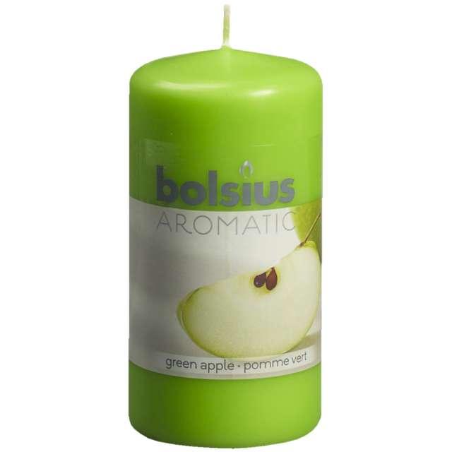 """Świeca pieńkowa zapachowa """"Zielone jabłuszko"""", zielona, Bolsius, 120/60mm"""