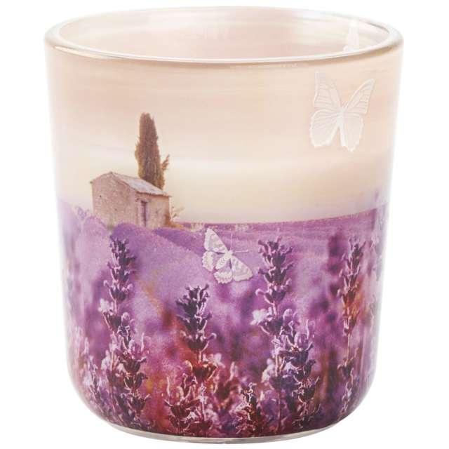 """Świeca w szkle """"Lawendowe pole"""", fioletowa, Bolsius, 80 mm"""