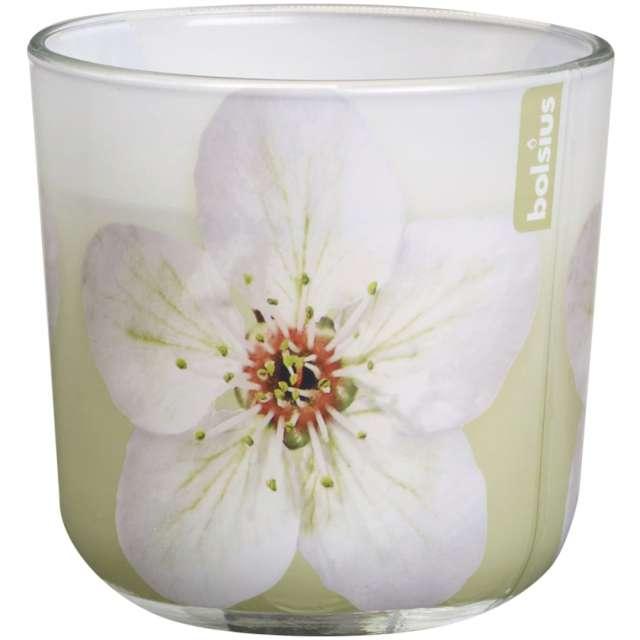 """Świeca w szkle """"Kwiat magnolia"""", biała, Bolsius, 78 mm"""