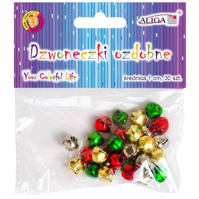 Dzwoneczki dekoracyjne Classic mix Aliga 10 mm 30 szt