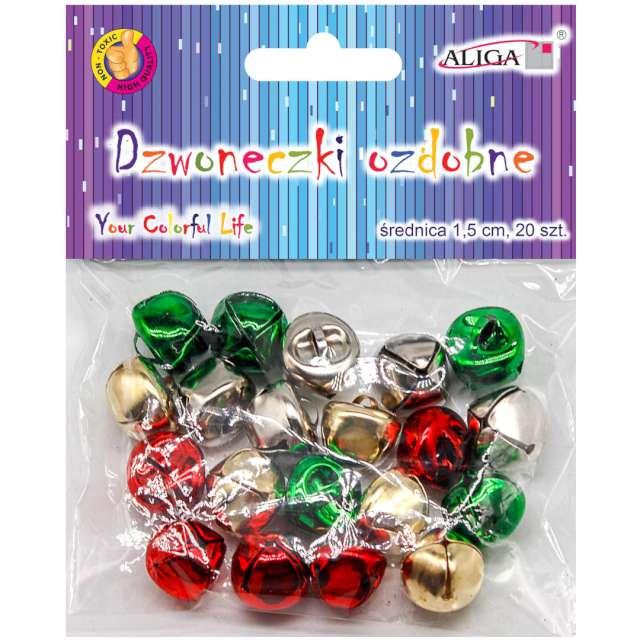 Dzwoneczki dekoracyjne Classic mix Aliga 15 mm 20 szt