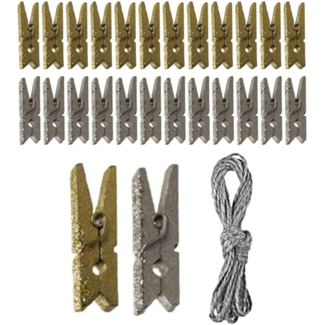 """Klamerki ozdobne """"Drewniane 3 cm"""", złoto-srebrne+sznurek, Titanum, 24 szt"""