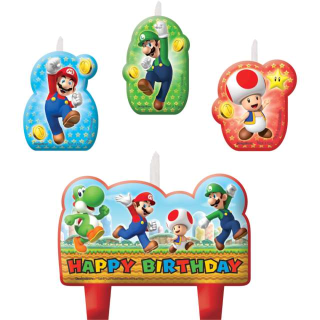 _xx_4 Mini Character Candles SuperMario Height 4
