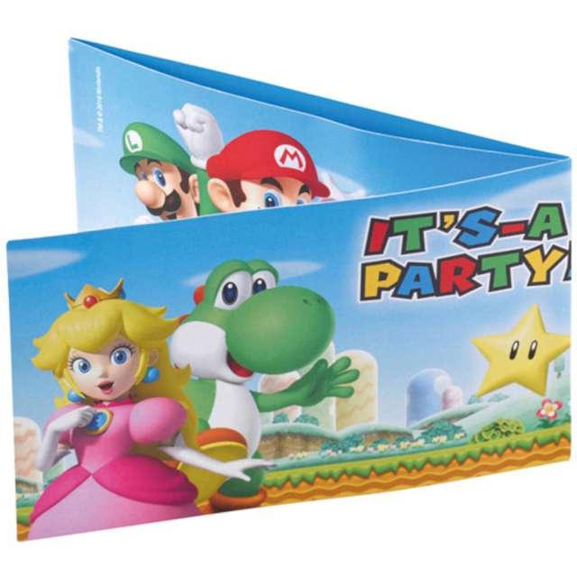 Zaproszenia urodzinowe Super Mario Amscan 8 szt