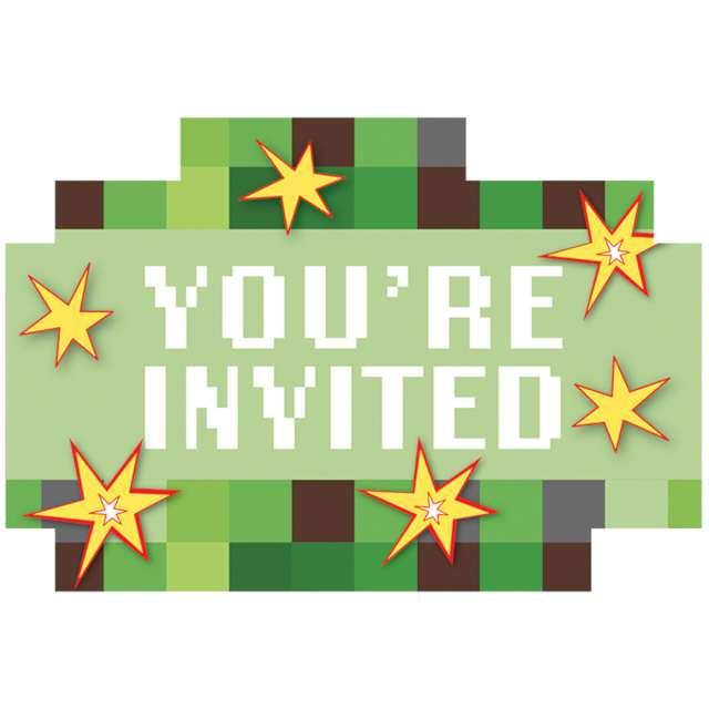 """Zaproszenia urodzinowe """"Piksel - TNT Party"""", Amscan, 8 szt"""
