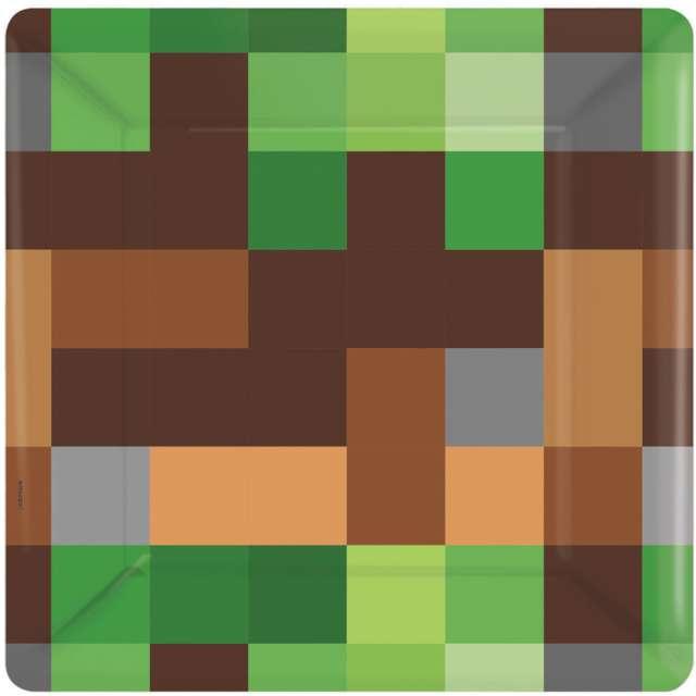 Talerzyki papierowe Piksel - Ziemia Amscan 18 cm 8 szt