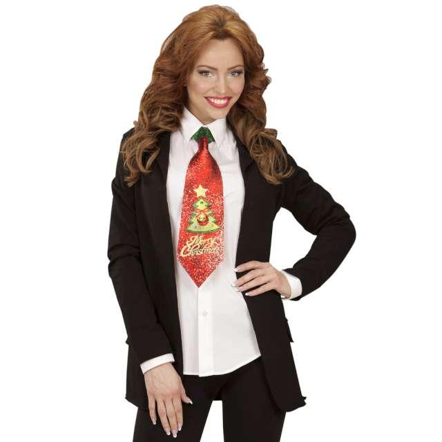 Krawat Merry Christmas+dzwoneczek czerwony brokat Widmann
