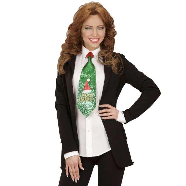 Krawat Merry Christmas zielony brokat Widmann