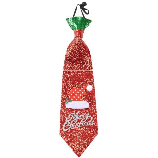 """Krawat """"Merry Christmas"""", czerwony brokat, Widmann"""
