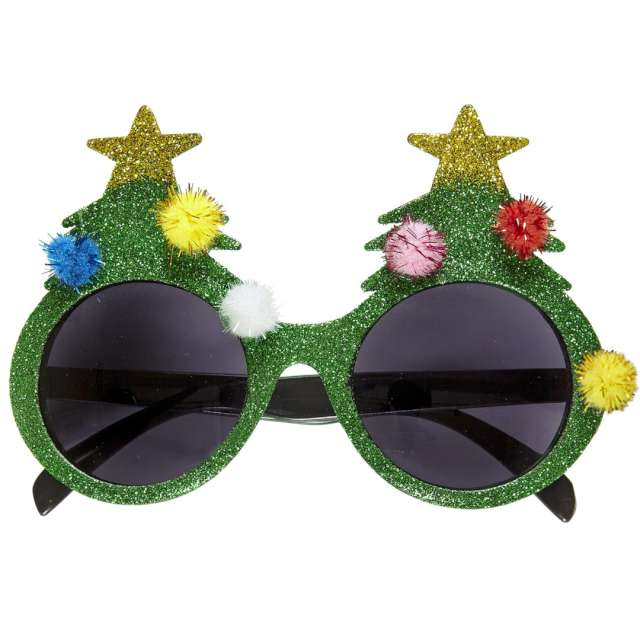"""Okulary party """"Brokatowe choinki"""", zielone, Widmann"""