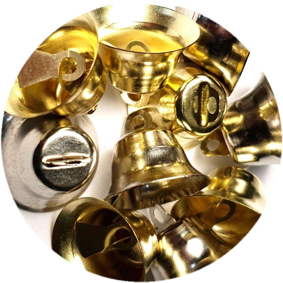 """Dzwoneczki dekoracyjne """"Świąteczne"""", złoto-srebrne, Aliga, 20 mm,10 szt"""