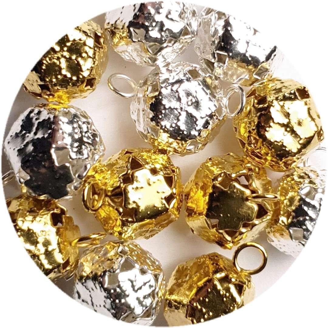 """Dzwoneczki dekoracyjne """"Ozdobne"""", złoto-srebrne, Aliga, 10 mm, 12 szt"""