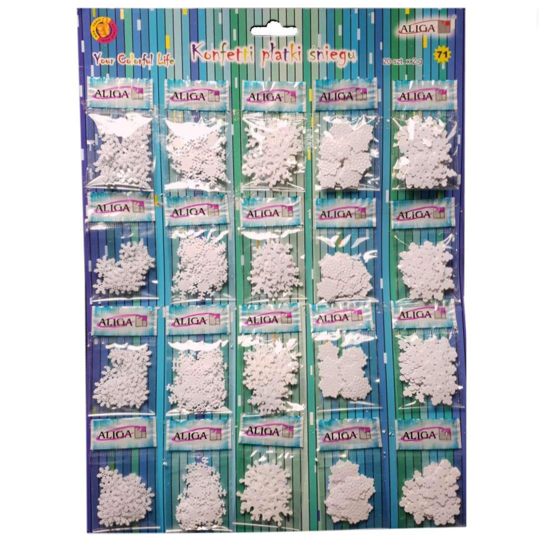 Konfetti Płatki Śniegu białe Aliga 20x2g