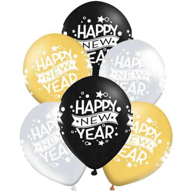 """Balony """"Happy New Year"""", pastel mix, PartPal, 12"""", 6 szt"""