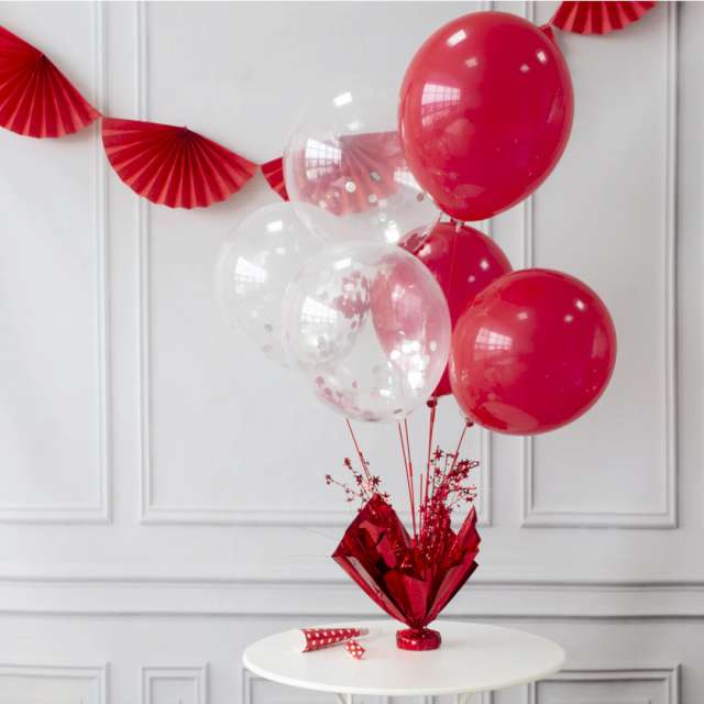 Obciążnik do balonów 2w1 - ze stojakiem czerwony Partypal