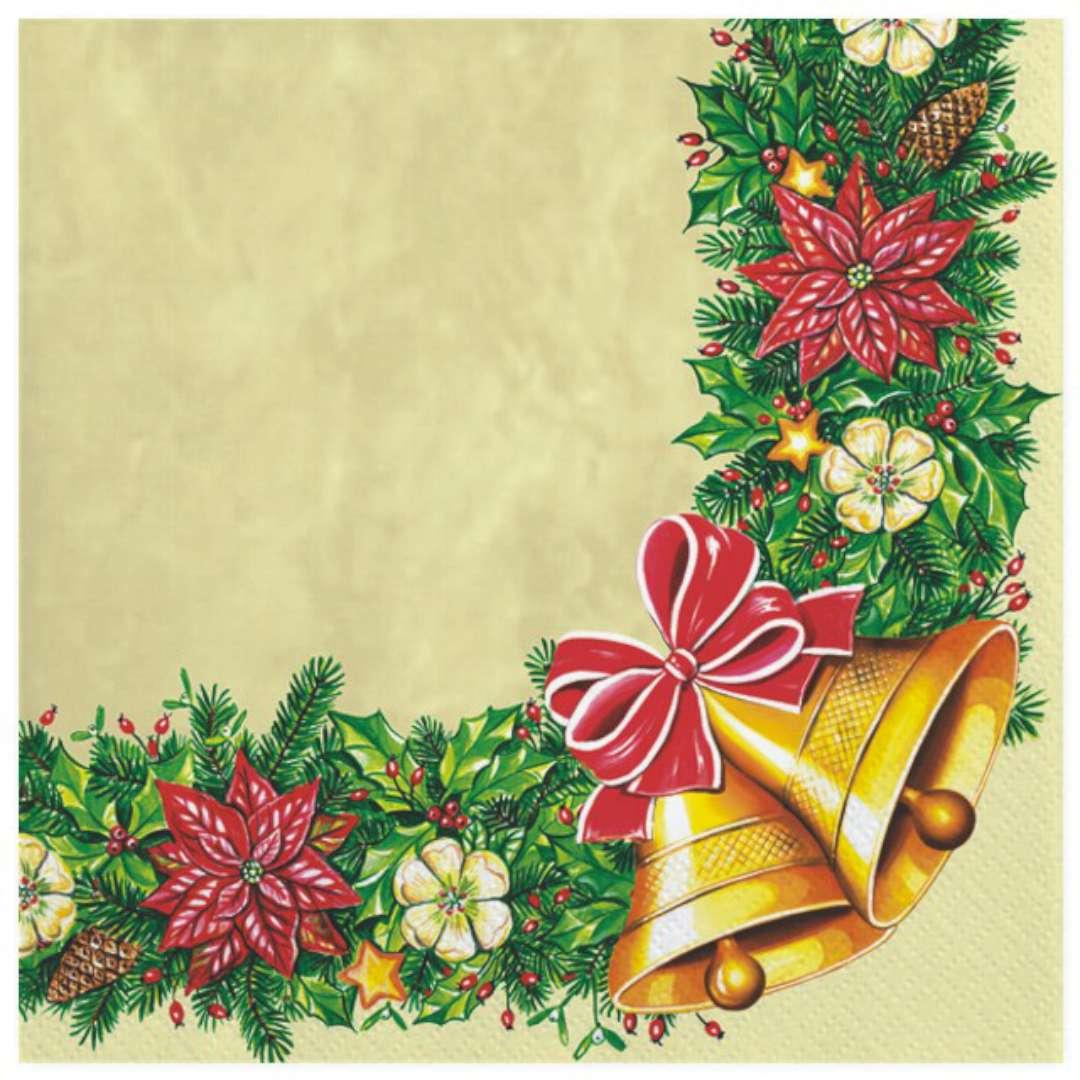 """Serwetki """"Wianek świąteczny z dzwonkami"""", Maki, 33 cm, 20 szt"""