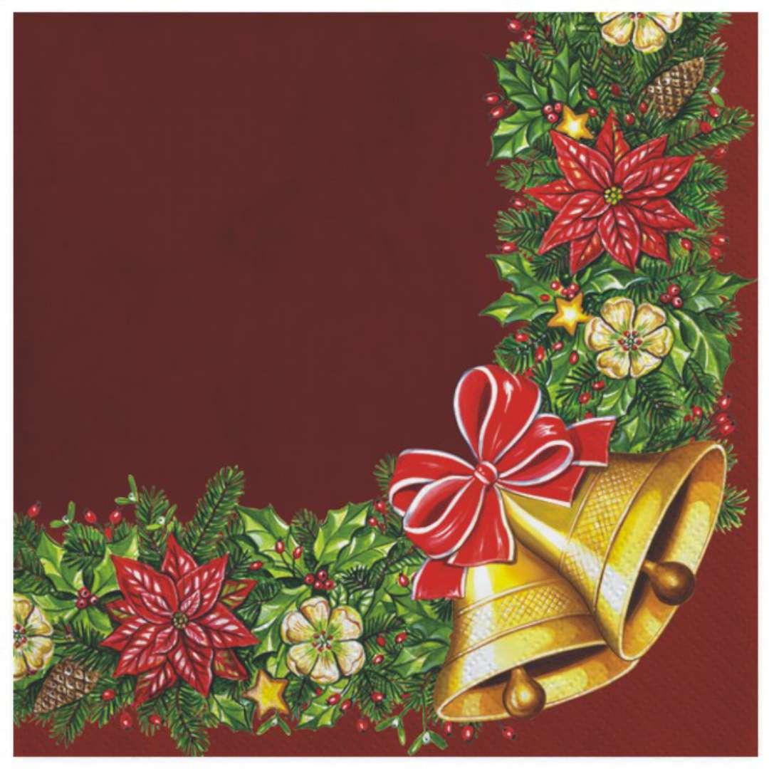 """Serwetki """"Wianek świąteczny z dzwonkami, bordowy"""", Maki, 33 cm, 20 szt"""