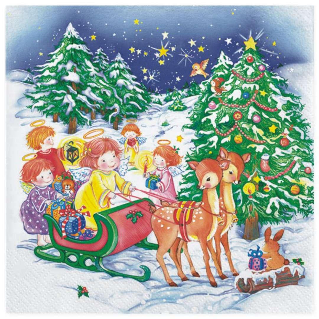 """Serwetki """"Świąteczne anioły na saniach"""", Maki, 33 cm, 20 szt"""