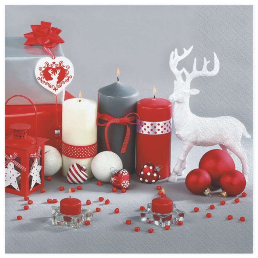 """Serwetki """"Biało-czerwone kompozycja świąteczna"""", Maki, 33 cm, 20 szt"""