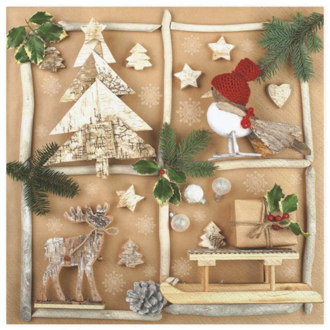 """Serwetki """"Ręcznie robione dekoracje bożonarodzeniowe"""", Maki, 33 cm, 20 szt"""