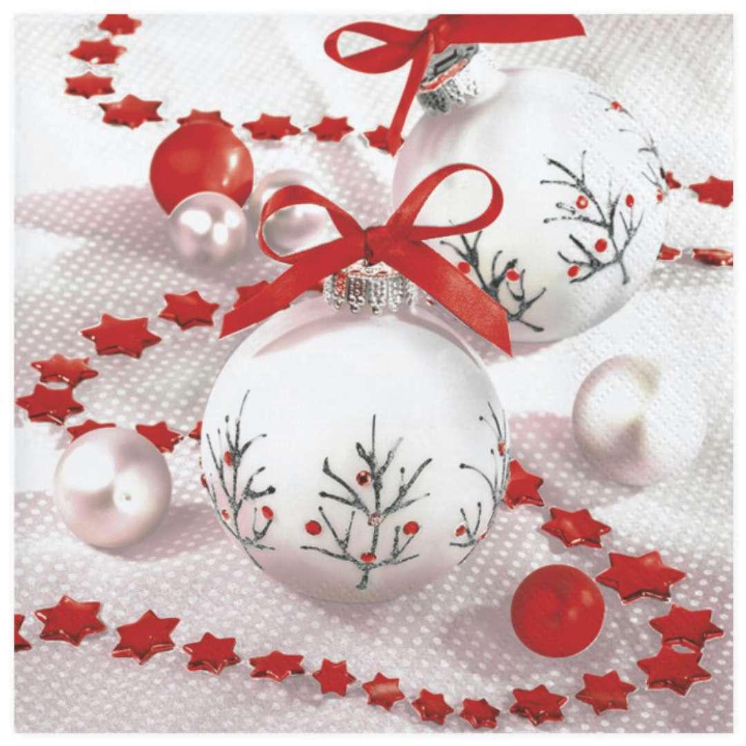 """Serwetki """"Bombki białe z czerwonymi dodatkami"""",  Maki, 33 cm, 20 szt"""