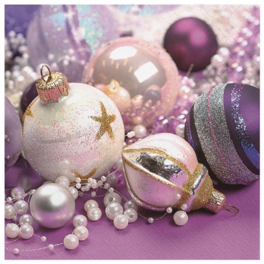 """Serwetki """"Fioletowo-białe bombki świąteczne"""", Maki, 33 cm, 20 szt"""