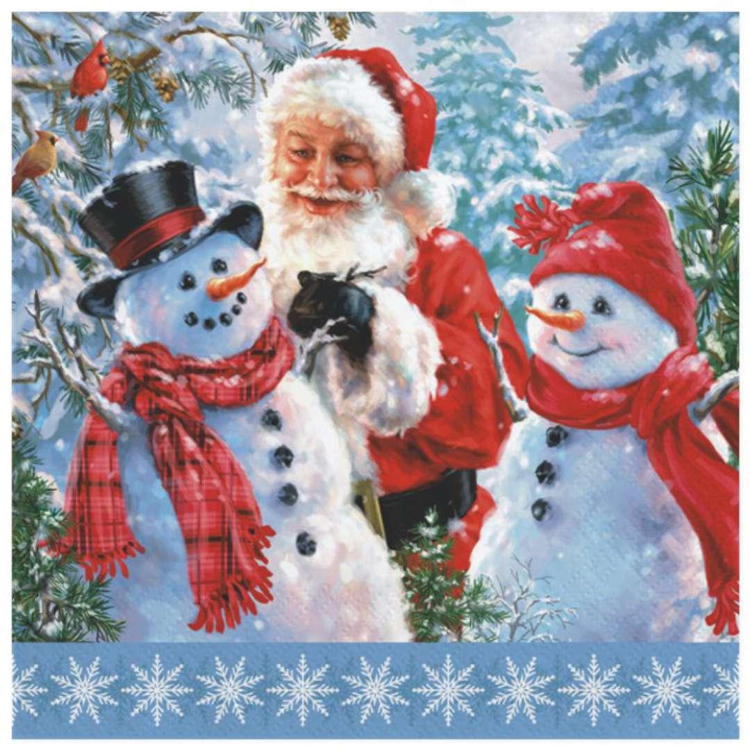 """Serwetki """"Święty Mikołaj i dwa bałwany"""", Maki, 33 cm, 20 szt"""
