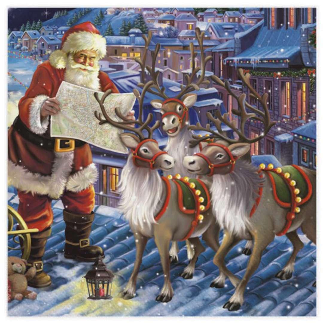 """Serwetki """"Święty Mikołaj z reniferami na dachu"""", Maki, 33 cm, 20 szt"""