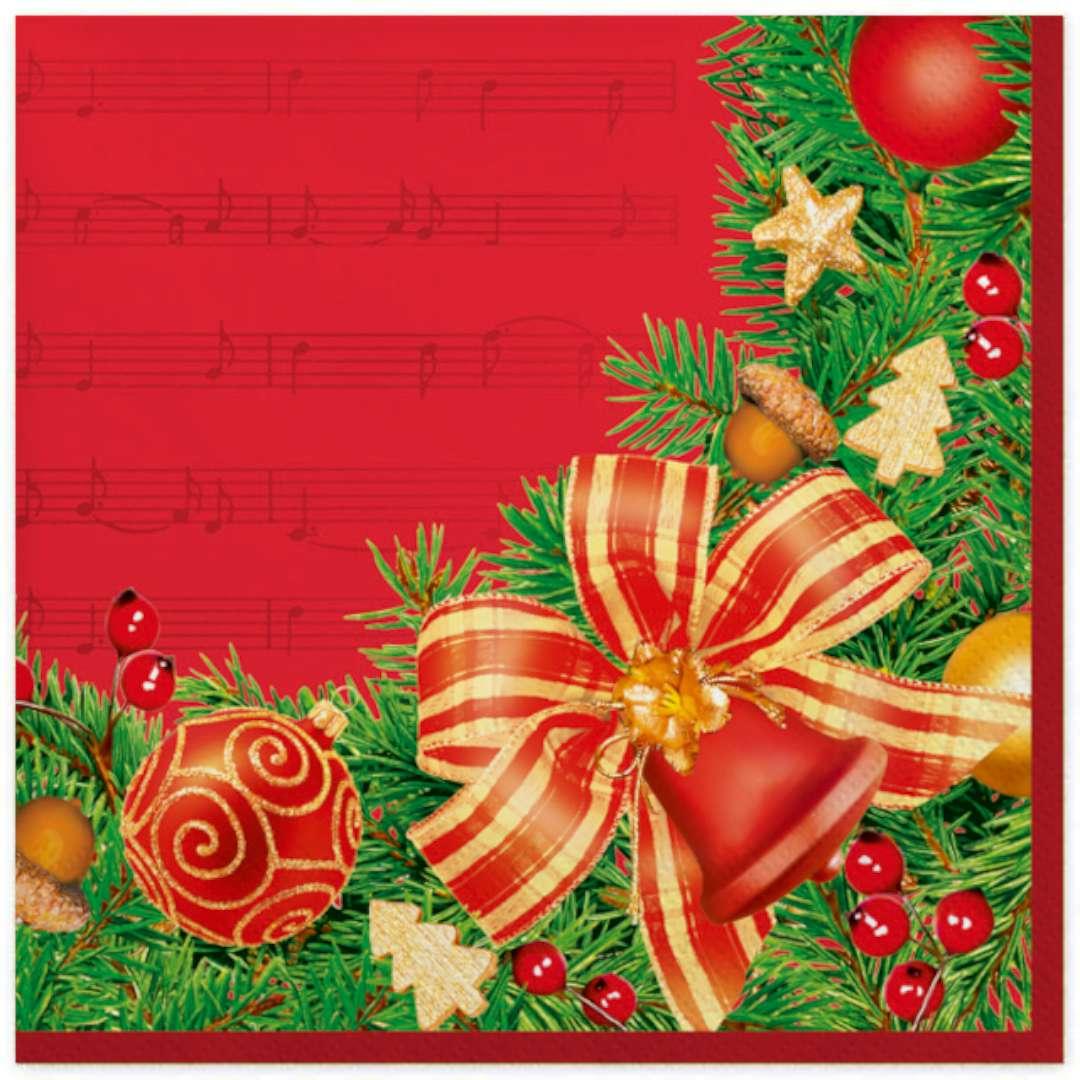 """Serwetki """"Świąteczna ramka z kokardą na czerwonym tle"""", Maki, 33 cm, 20 szt"""