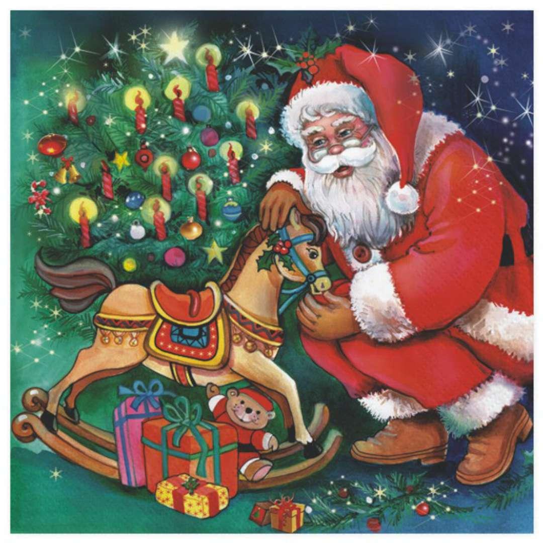 """Serwetki """"Święty Mikołaj wyjmuje prezenty"""", Maki, 33 cm, 20 szt"""