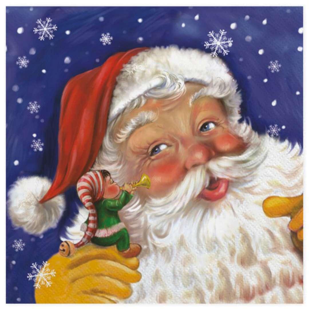 """Serwetki """"Święty Mikołaj i elf"""", Maki, 33 cm, 20 szt"""