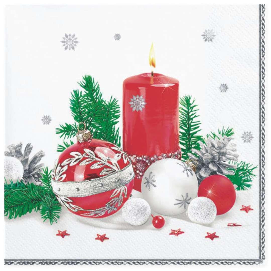 """Serwetki """"Świąteczne, czerwone dekoracje na białym tle"""", Maki, 33 cm, 20 szt"""
