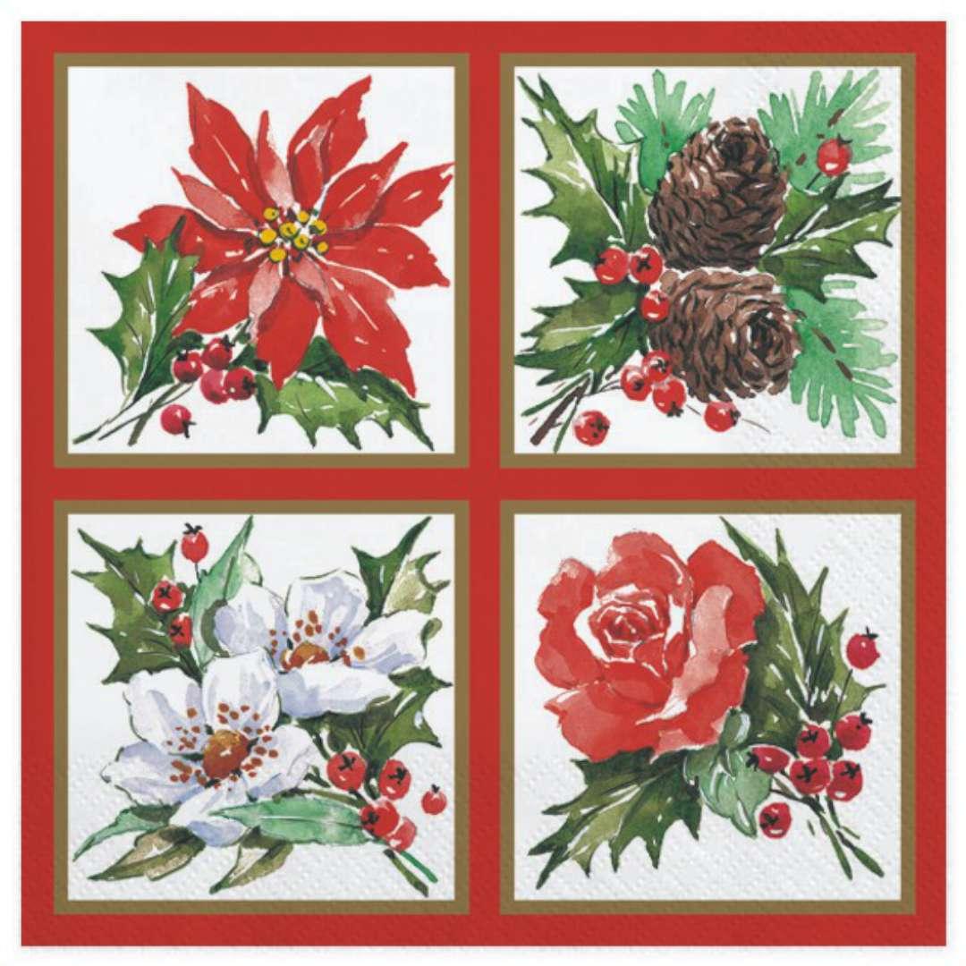 """Serwetki """"Malowane ozdoby świąteczne w ramkach"""", Maki, 33 cm, 20 szt"""