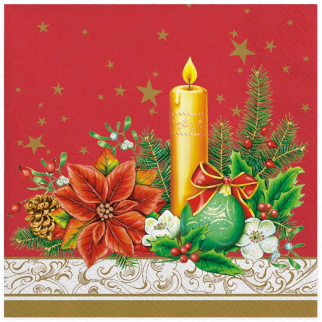 """Serwetki """"Świąteczna złota świeczka na czerwonym tle"""", Maki, 33 cm, 20 szt"""