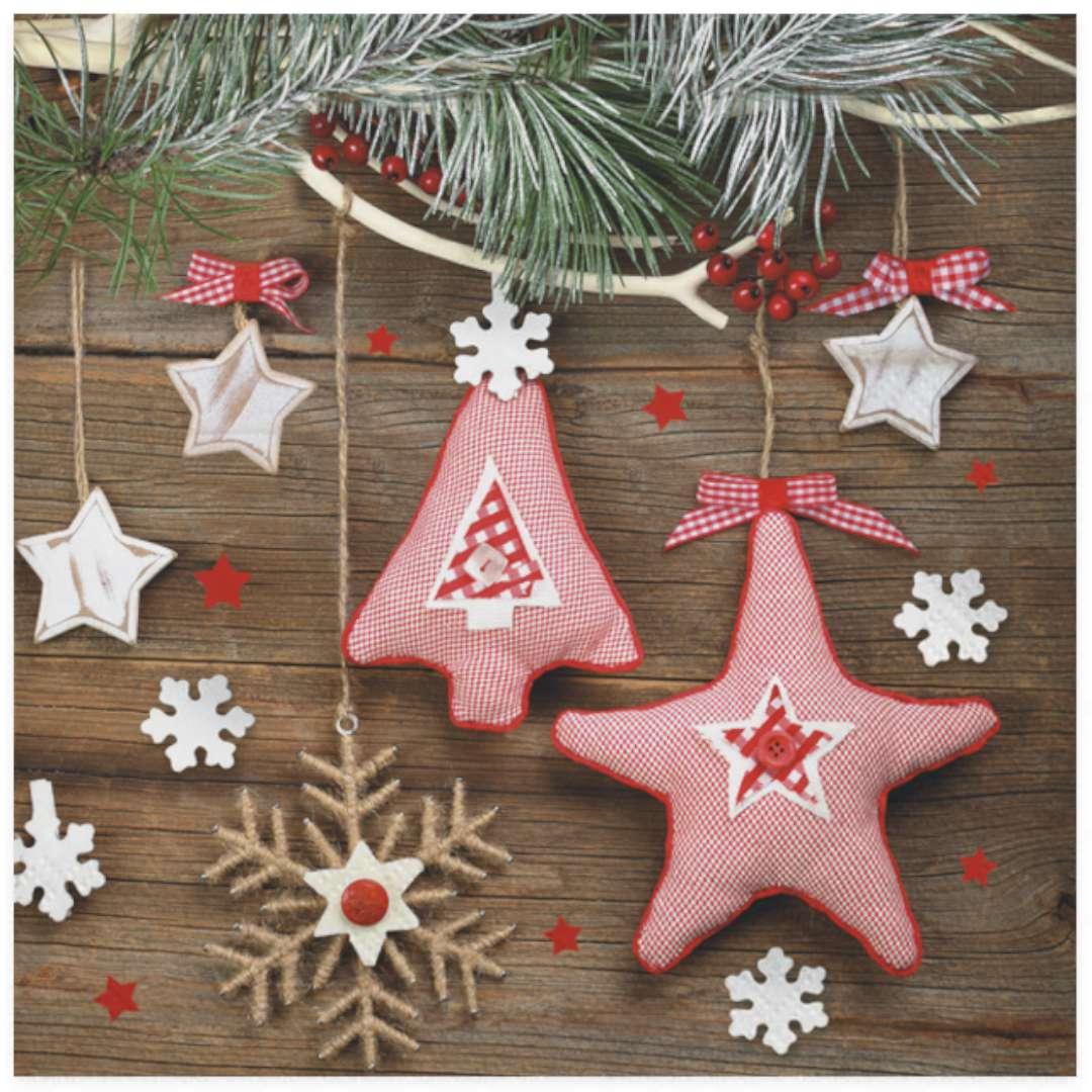 """Serwetki """"Świąteczne ozdoby, różowe, ręcznie robione"""", Maki, 33 cm, 20 szt"""