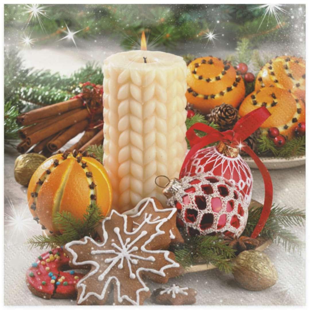"""Serwetki """"Świąteczna kremowa świeczka i pomarańcza"""" , Maki, 33 cm, 20 szt"""
