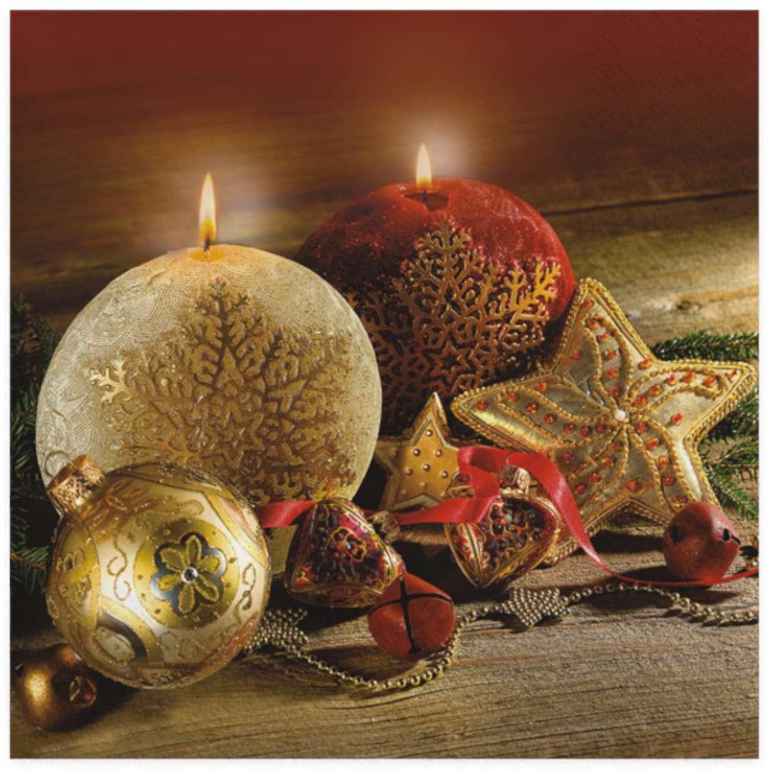 """Serwetki """"Świąteczne złote świece na czarnym tle"""", Maki, 33 cm, 20 szt"""