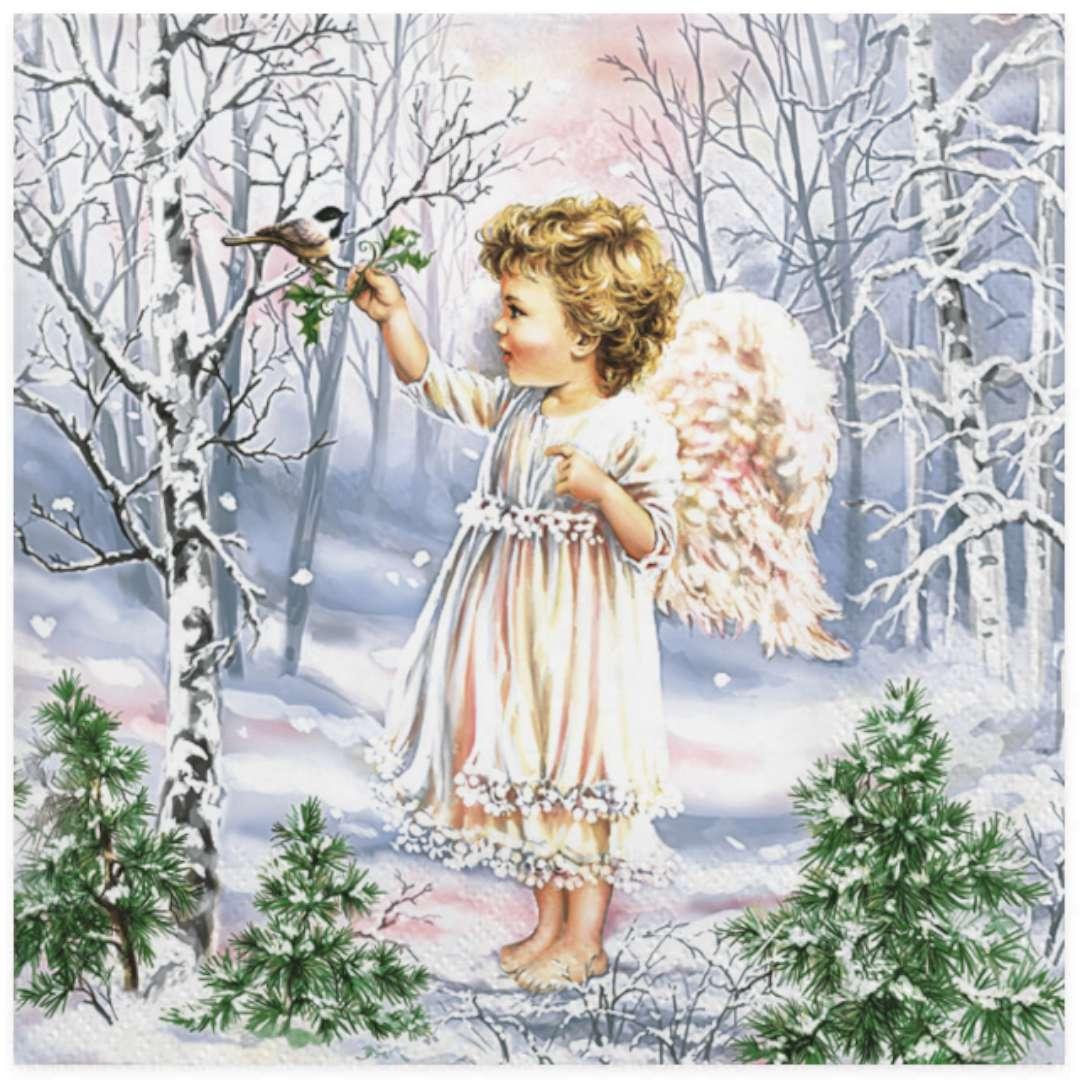 """Serwetki """"Aniołek w zimowym lesie"""", Maki, 33 cm, 20 szt"""