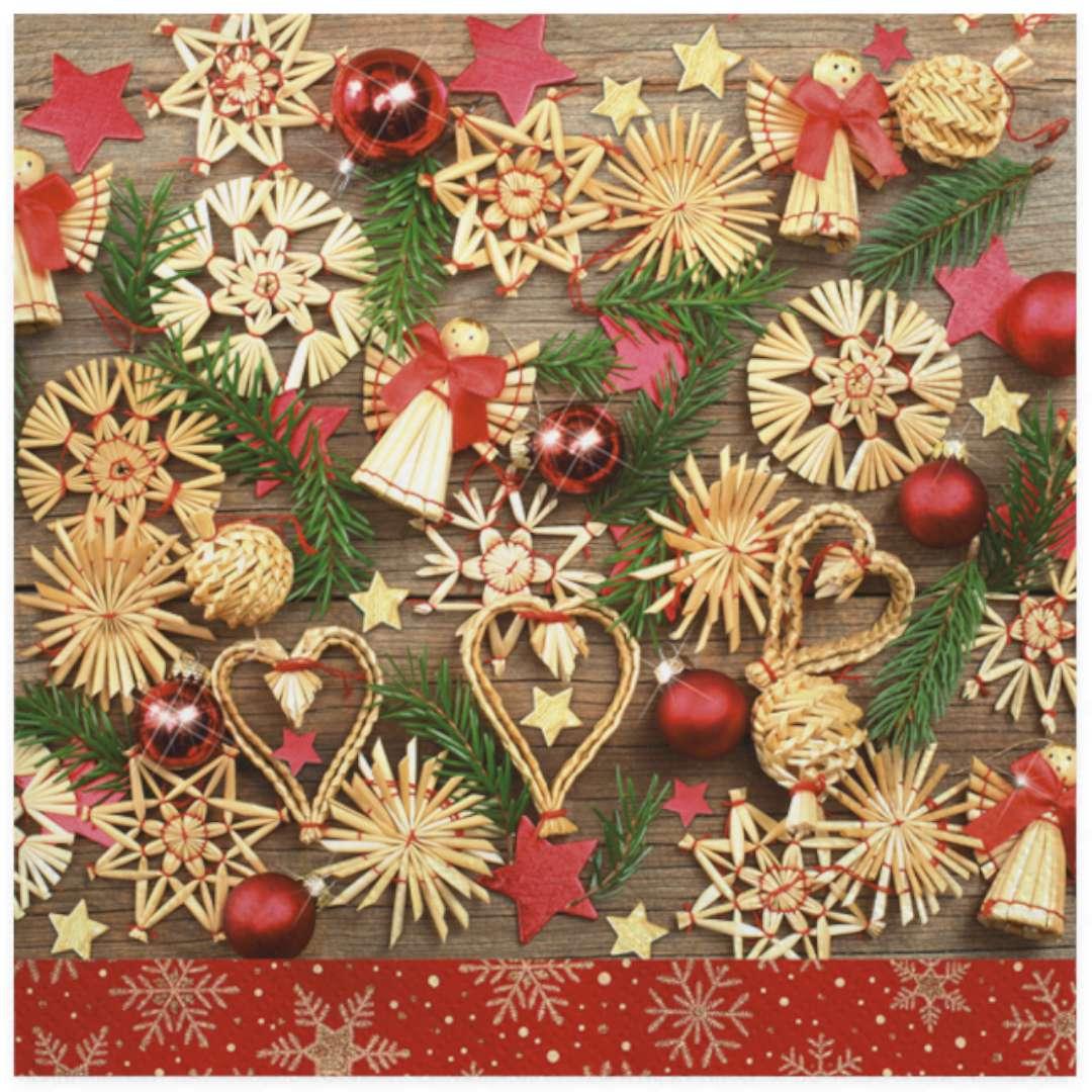 """Serwetki """"Świąteczne drewniane dekoracje z serduszkami"""", Maki, 33 cm, 20 szt"""