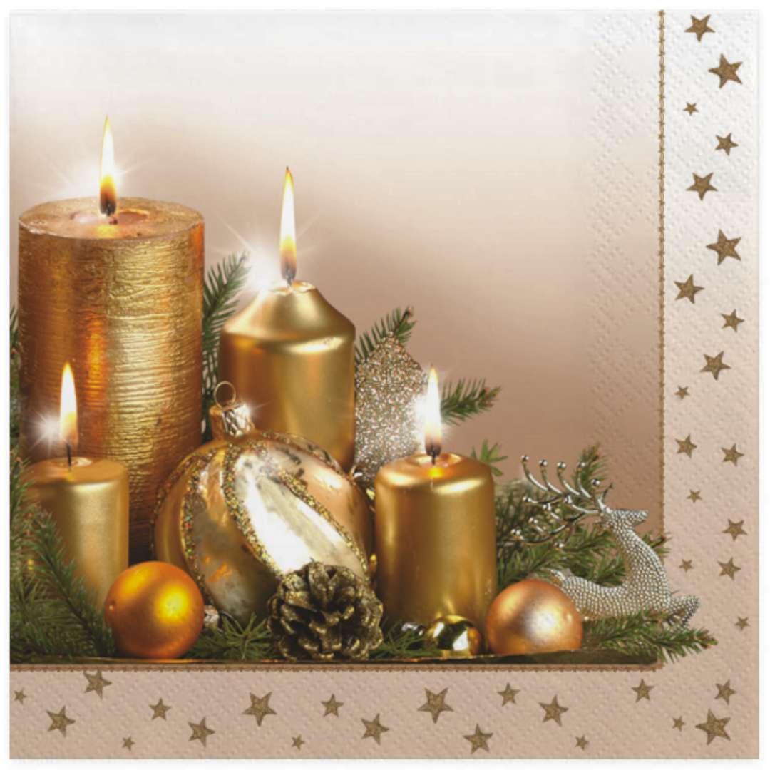 """Serwetki """"Złote świąteczne świeczki"""", Maki, 33 cm, 20 szt"""