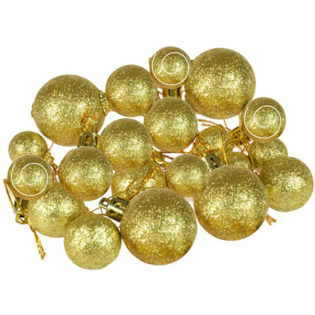 """Bombki """"Mini Brokatowe"""", złote, Arpex, komplet 20"""