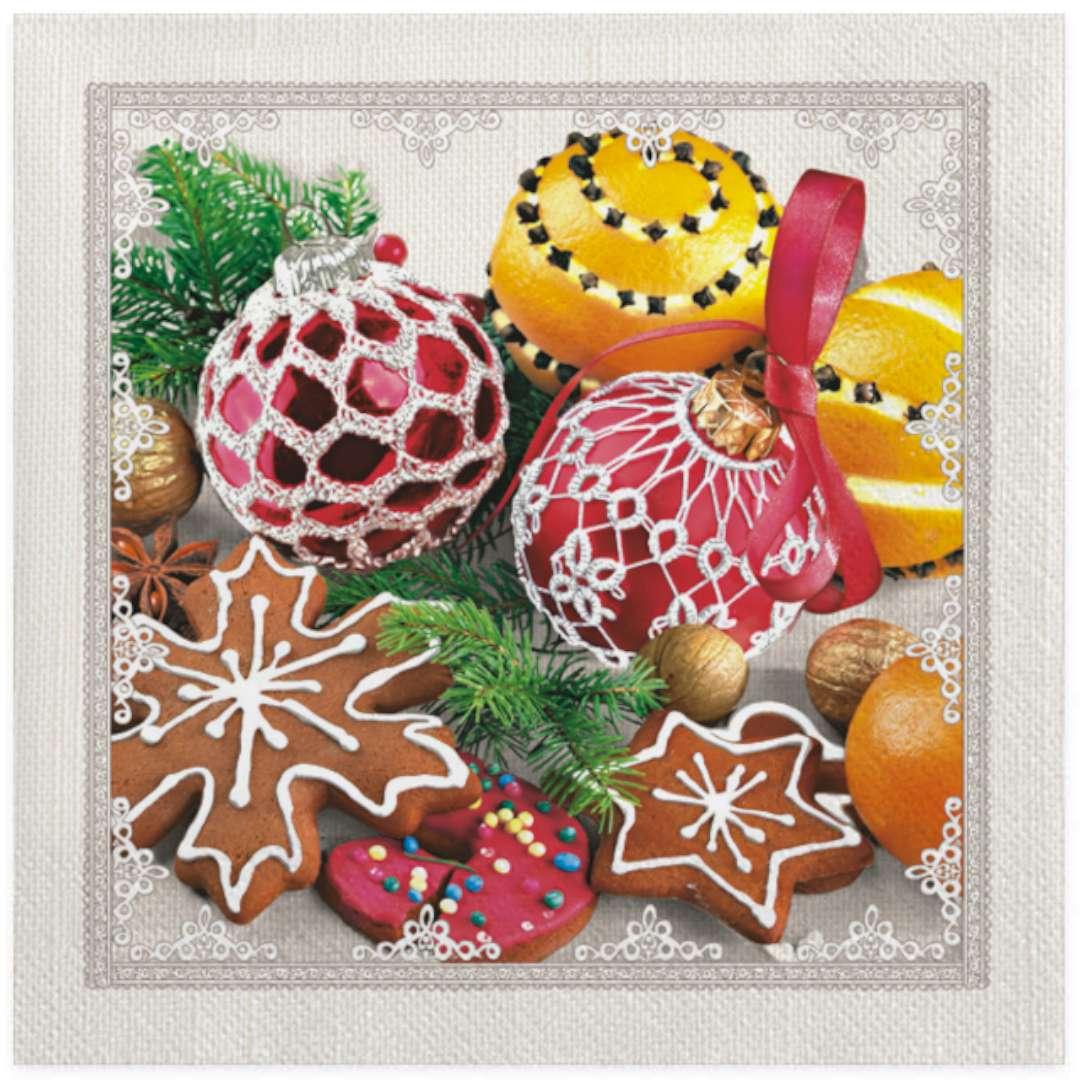"""Serwetki """"Świąteczne ciastka, bombki i pomarańcze"""", Maki, 33 cm, 20 szt"""