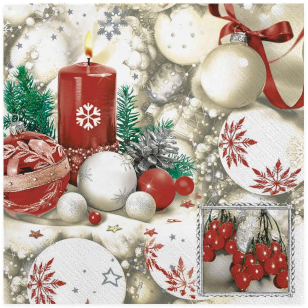 """Serwetki """"Świąteczna dekoracja biało czerwona"""", Maki, 33 cm, 20 szt"""