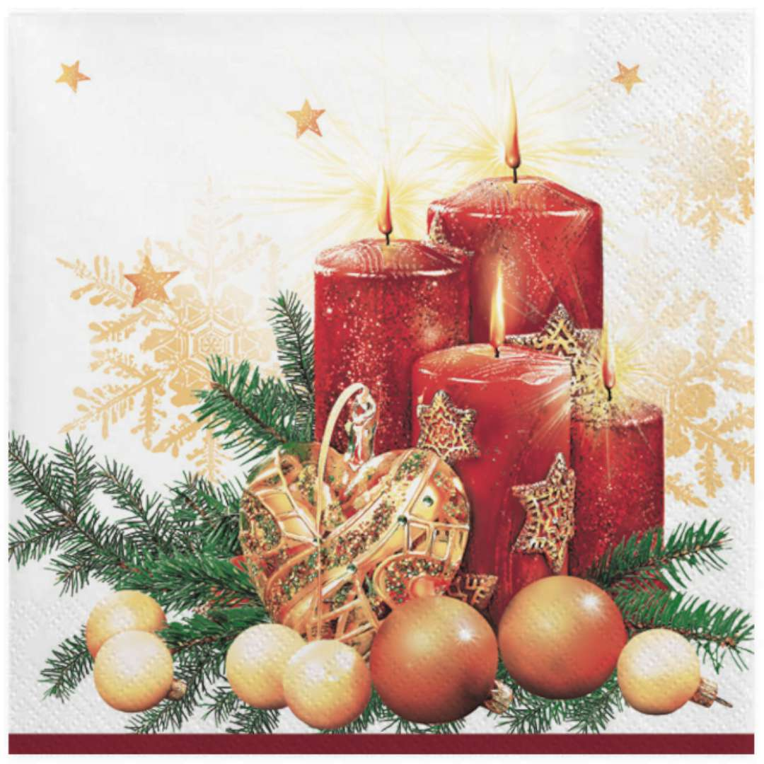 """Serwetki """"Czerwone świece i dekoracja na białym"""", Maki, 33 cm, 20"""