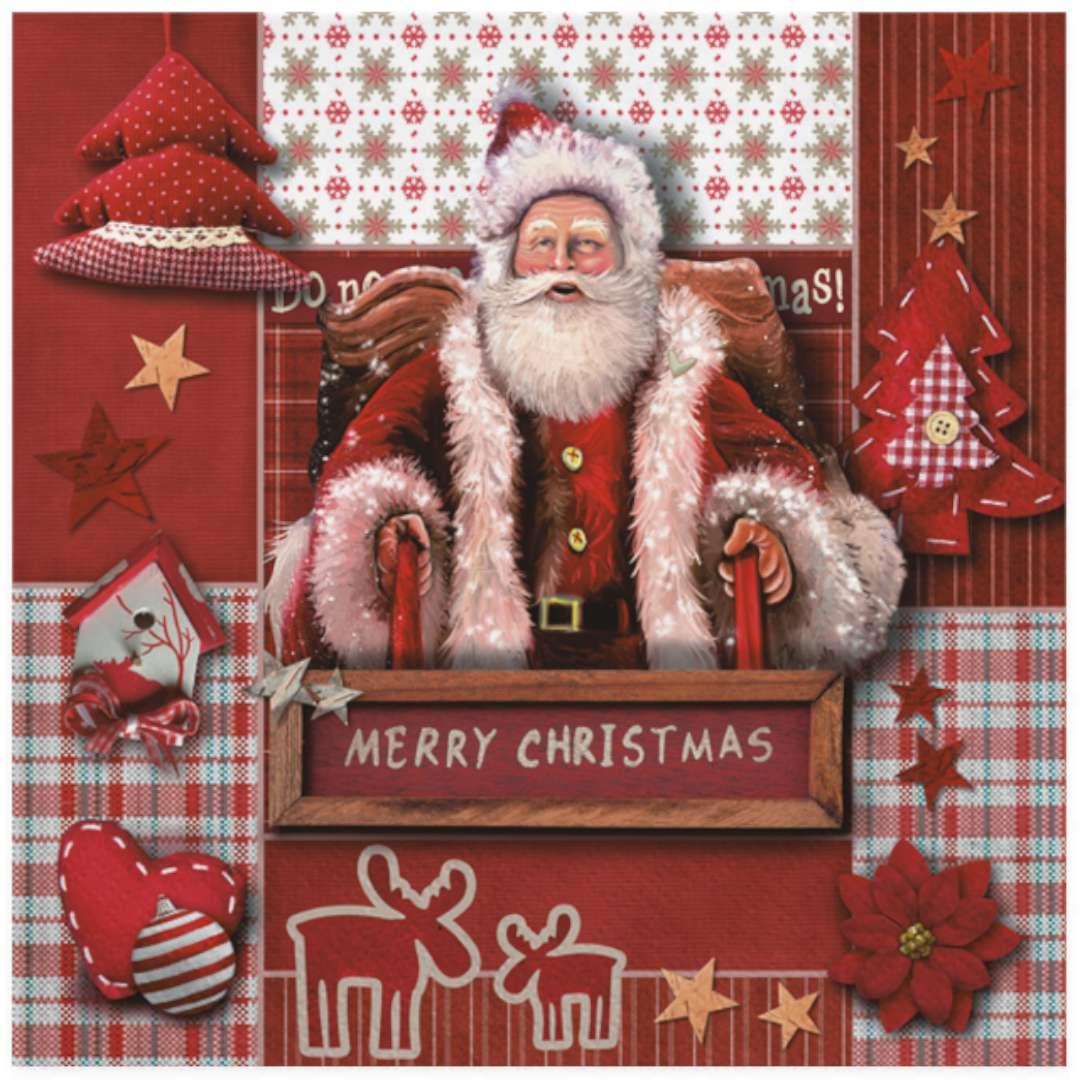 """Serwetki """"Święty Mikołaj na tle kolażu"""", Maki, 33 cm, 20 szt"""